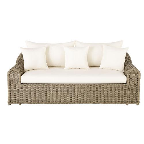 Canapé de jardin 3 places en résine tressée et toile écrue