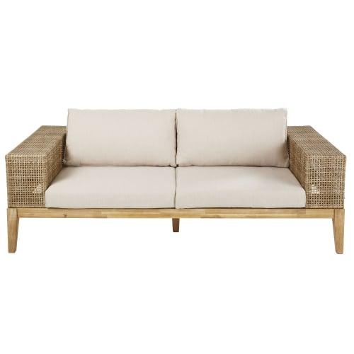 Canapé de jardin 3 places en résine tressée et toile taupe clair   Maisons  du Monde