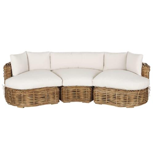 Canapé de jardin 3 places en rotin tressé et coussins blancs