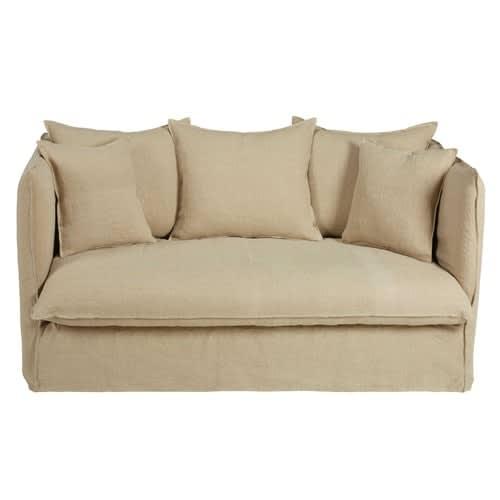 design intemporel 4ea56 4c715 Canapé-lit 2 places en lin lavé beige
