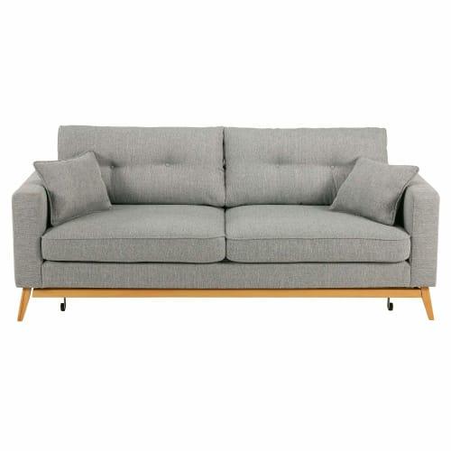 Canapé-lit style scandinave 9 places gris clair  Maisons du Monde