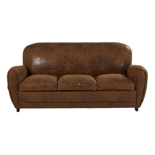Canapé lit vintage 3 places en suédine marron | Maisons du Monde