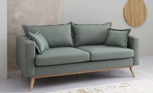 Canapé lit vintage 3 places vert d'eau | Maisons du Monde