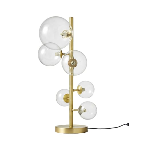 Candeeiro Com 6 Globos De Vidro E Mteal Dourado Atome Maisons Du Monde