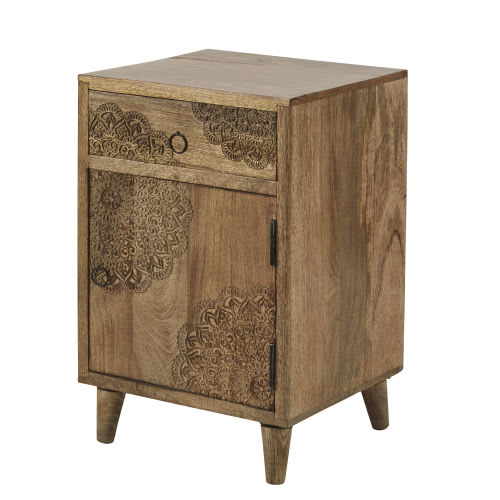 new product 2b491 c0524 Carved Solid Mango Wood 1-Door 1-Drawer Bedside Table
