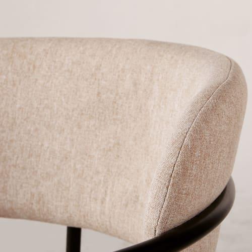 Chaise beige et métal noir mat | Maisons du Monde