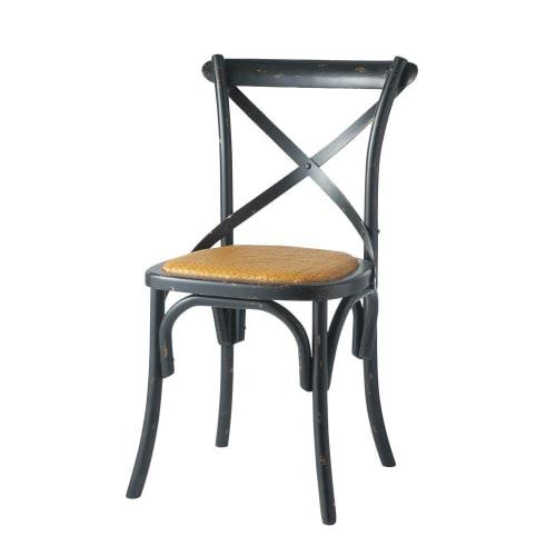 chaise bistrot en rotin et bouleau noir tradition. Black Bedroom Furniture Sets. Home Design Ideas