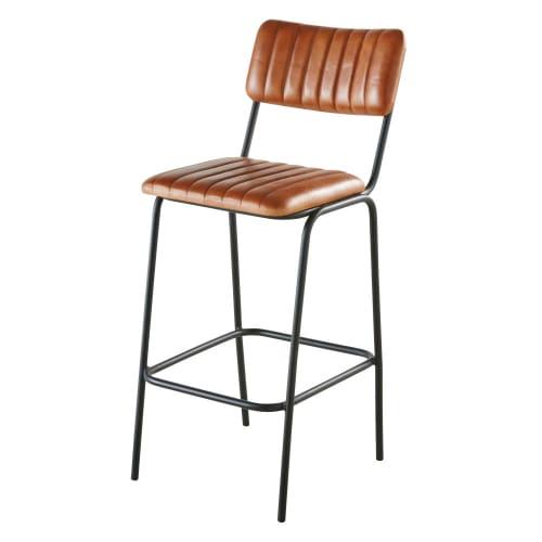 Chaise de bar matelassée en cuir de buffle marron et métal noir