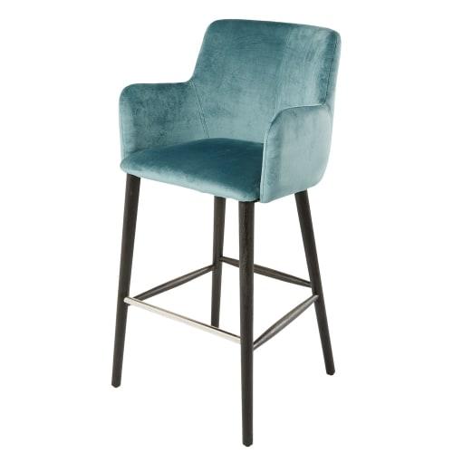en H110 Chaise professionnelle bleu vintage de bar velours UMpGVzqS