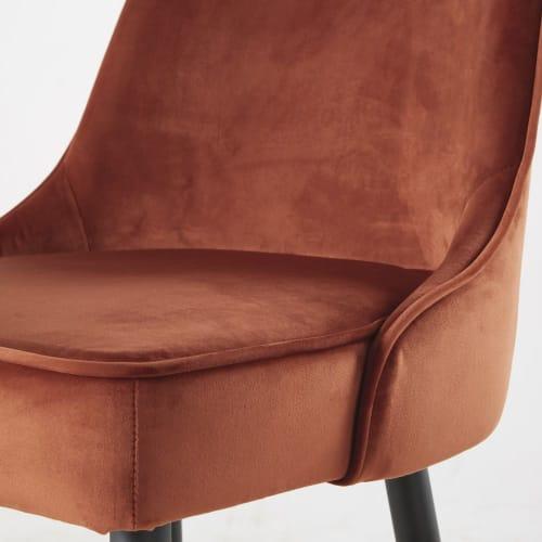 Chaise de bar professionnelle vintage en velours orange rouille et métal noir   Maisons du Monde