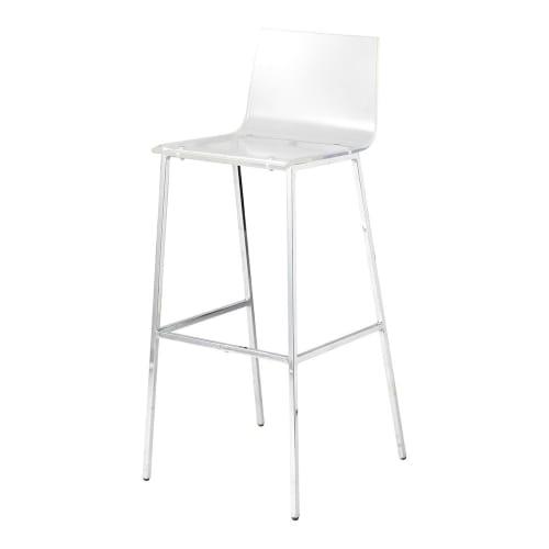 Chaise de bar transparente et acier chromé