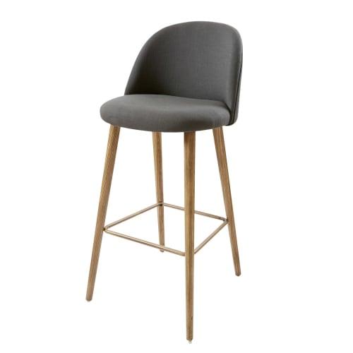 chaise de bar vintage gris anthracite et fr ne mauricette. Black Bedroom Furniture Sets. Home Design Ideas