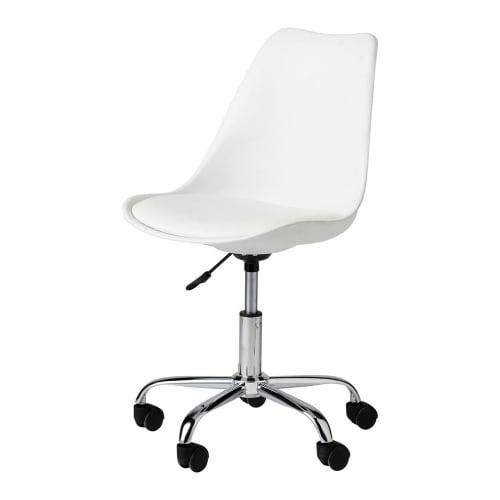 Chaise de bureau à roulettes blanche