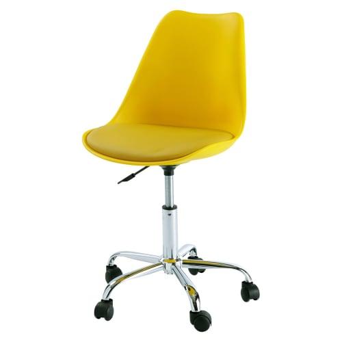 Chaise de bureau à roulettes jaune | Maisons du Monde