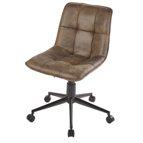 Chaise marron à bureau matelassée de roulettes GjUzVpLqSM