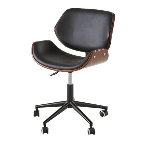 Chaise De Bureau Reglable A Roulettes Imitation Cuir Kent Maisons Du Monde