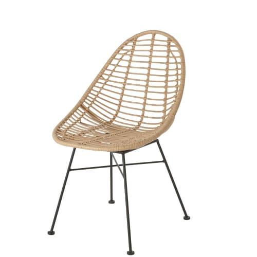 Chaise de jardin en résine imitation rotin et métal noir