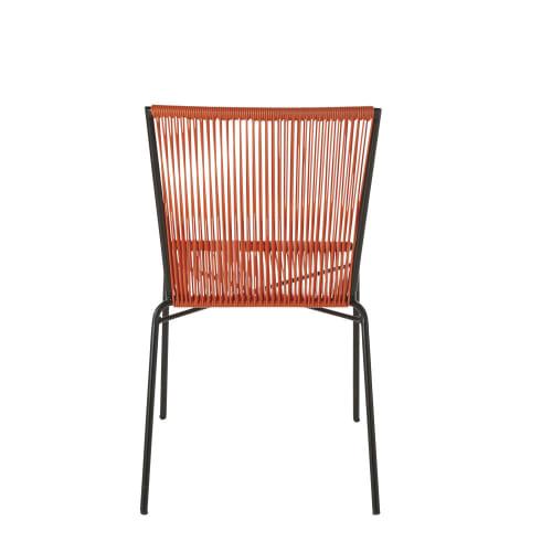 Chaise de jardin en résine orange et métal noir | Maisons du Monde