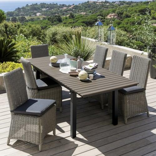 Chaise de jardin en résine tressée grise