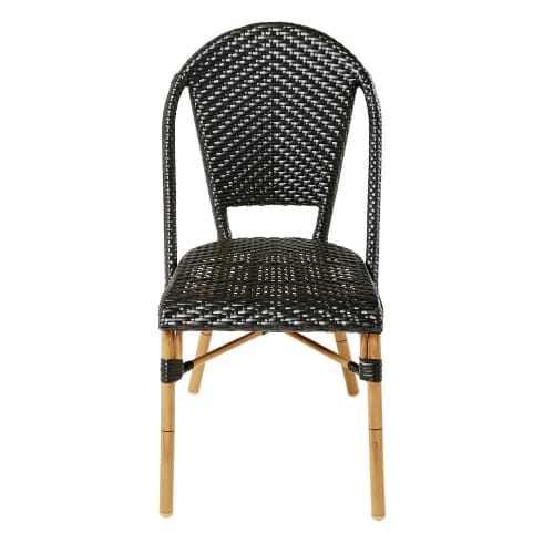 jardin H88 tressée noire résine Chaise de professionnelle en SpUzMV