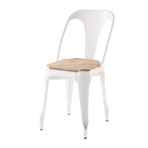 Chaise en métal blanc et manguier | Maisons du Monde