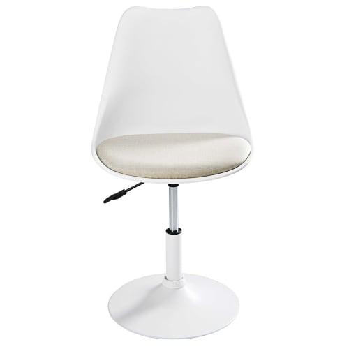 Chaise en métal blanc mat et tissu beige | Maisons du Monde