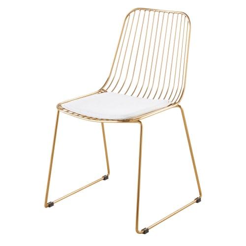 Chaise en métal doré et coton blanc  Maisons du Monde
