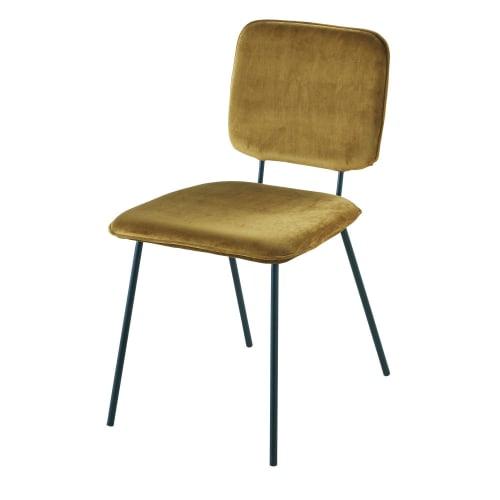 Chaise en velours ocre et métal noir   Maisons du Monde