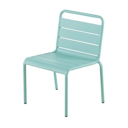 Chaise enfant en métal bleu turquoise
