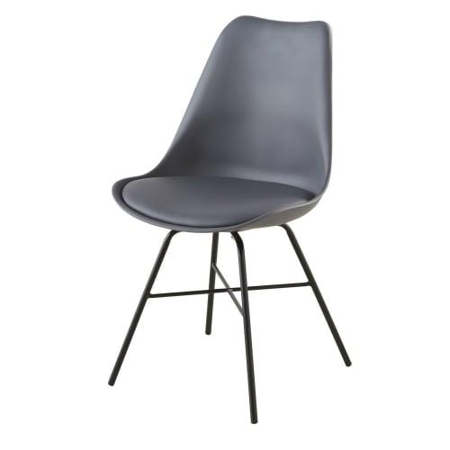 Chaise gris anthracite et pieds en métal noir   Maisons du Monde