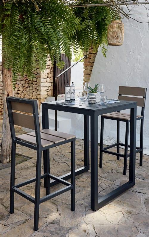 Chaise haute de jardin professionnelle en aluminium gris anthracite H110