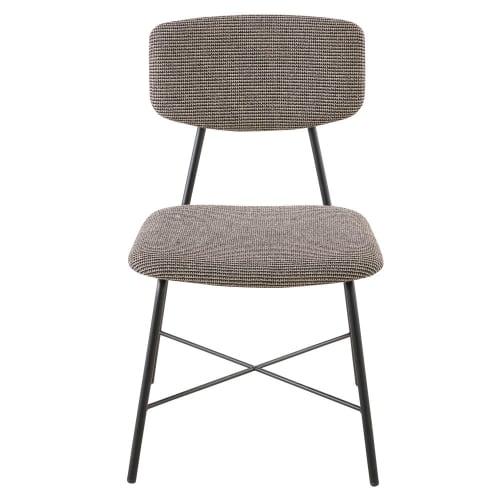 Chaise imprimé noir et blanc et métal noir mat | Maisons du Monde