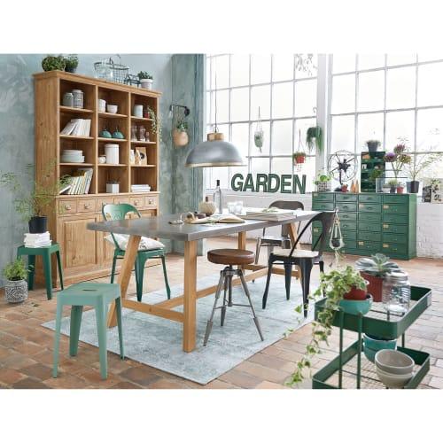 Chaise indus en métal vert