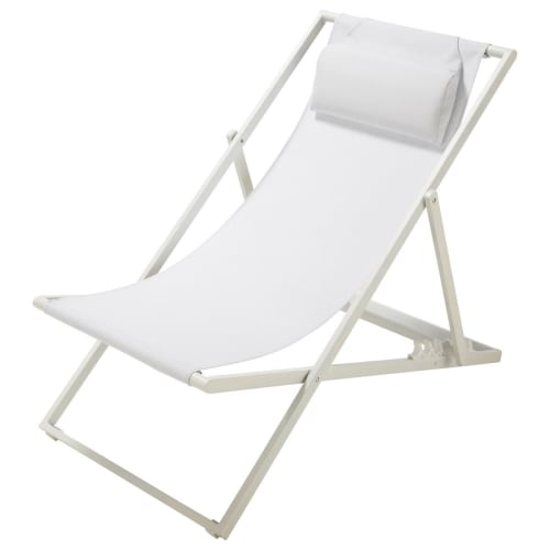 Chaise Longue Chilienne Pliante En Metal Blanc Split