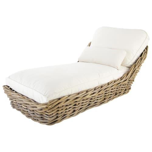 Chaise longue da giardino in rattan e cuscini écru Per il giardino