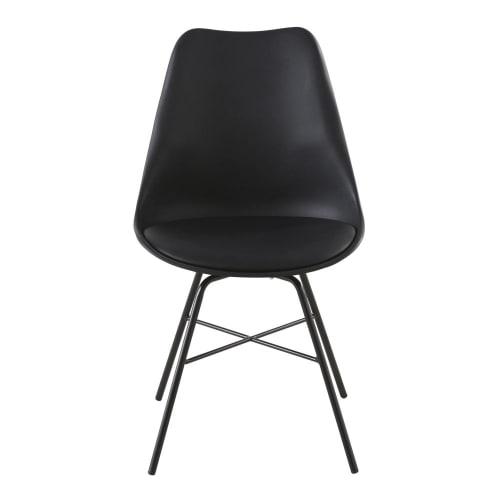 Chaise noire et pieds en métal noir   Maisons du Monde