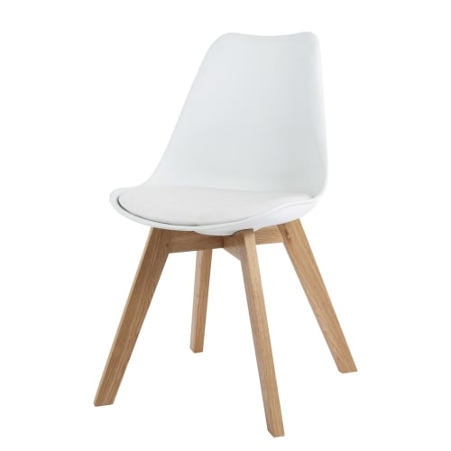Chaise style scandinave blanche et chêne massif