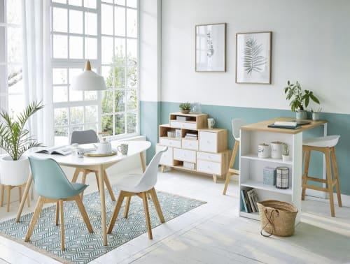 Chaise Style Scandinave Blanche Et Chene Massif Ice Maisons Du Monde