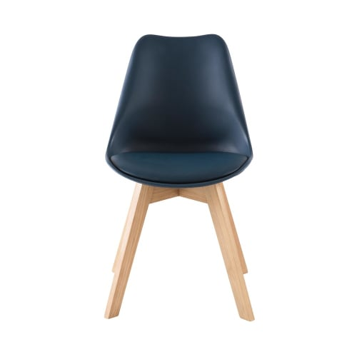 Chaise style scandinave bleu marine et chêne massif