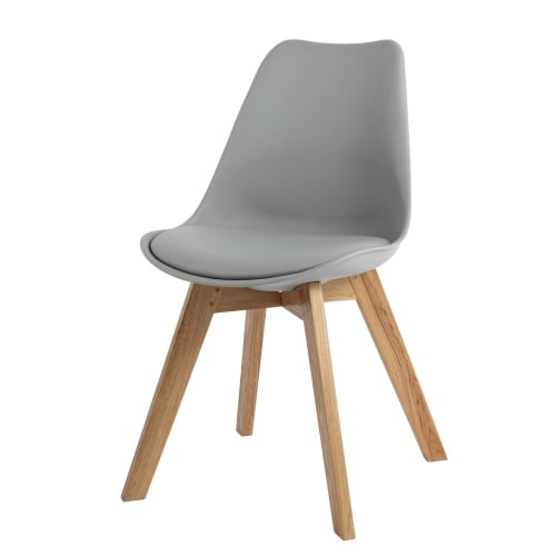 Chaise Style Scandinave Grise Et Chêne Massif