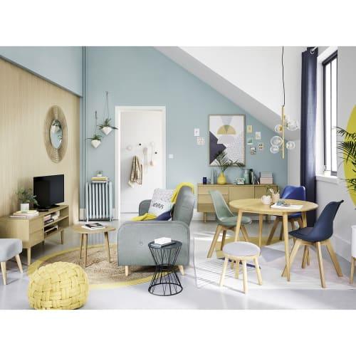 Chaise style scandinave vert d'eau et chêne massif | Maisons du Monde