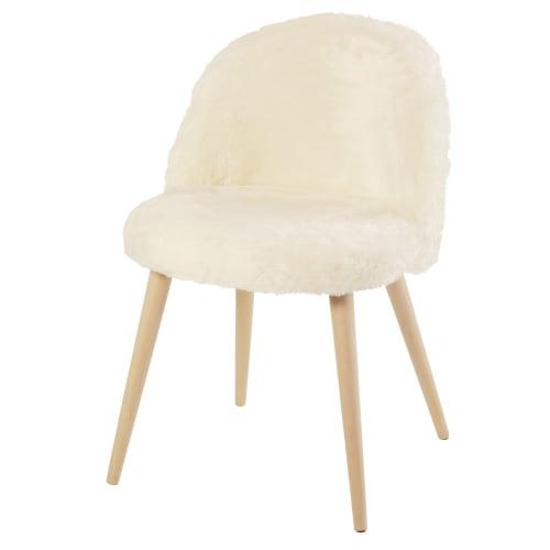 Chaise vintage en imitation fourrure ivoire et bouleau  Maisons du Monde