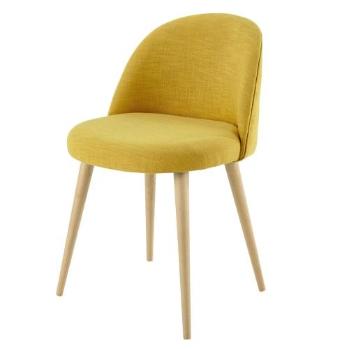 Chaise vintage jaune et bouleau massif