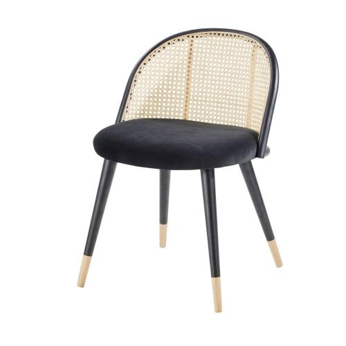 Chaise vintage noire cannage en rotin et bouleau massif