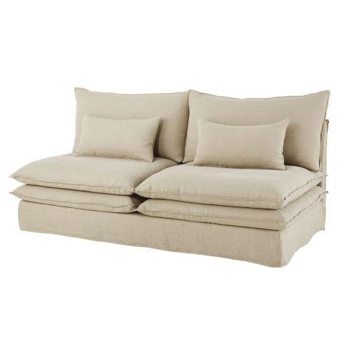 en soldes 06693 8d07d Chauffeuse de canapé 2 places en lin