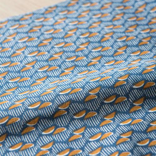 Chemin De Table En Coton Bleu Ecru Jaune A Motifs 45x150 Sindara