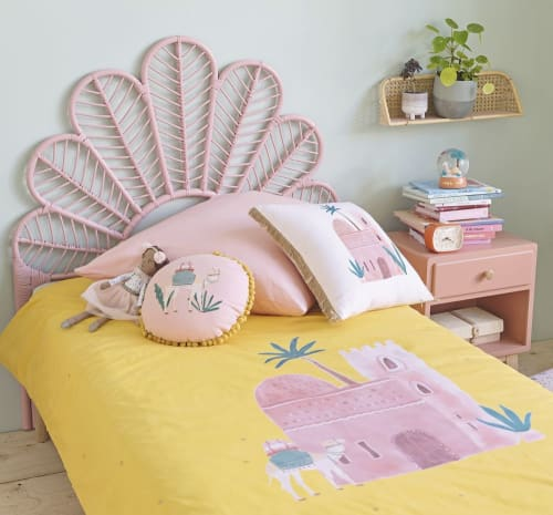 Children S Pink And Mustard Yellow Print Cotton Bedding Set 140x200 Siwa Maisons Du Monde