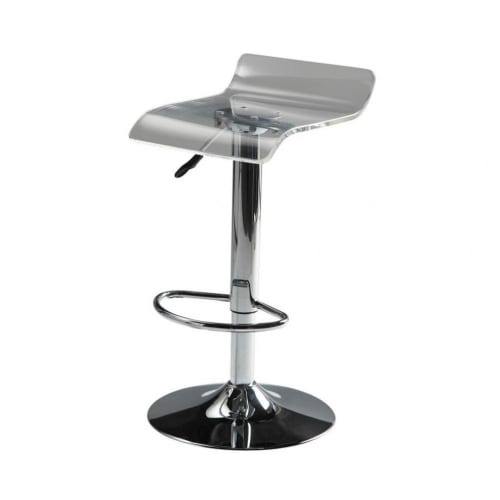 Magnificent Chrome Finish Metal And Acrylic Plastic Bar Stool Caraccident5 Cool Chair Designs And Ideas Caraccident5Info