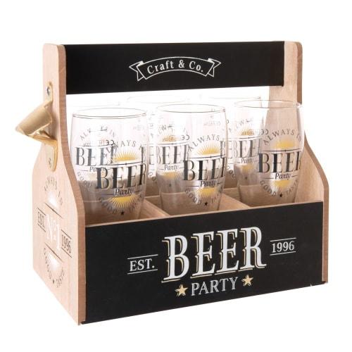 Coffret 6 verres à bière en verre et support imprimé | Maisons du Monde