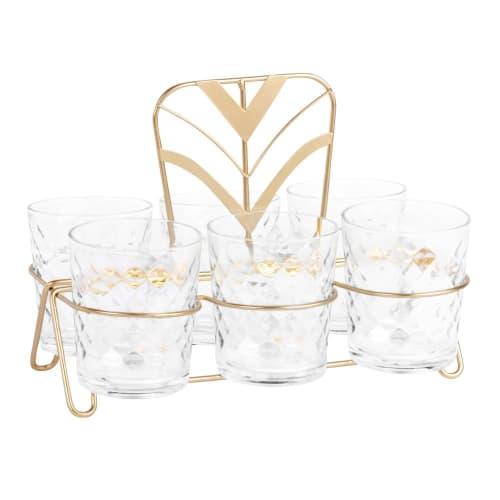 Coffret 6 verres en verre et support en métal doré